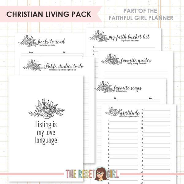 Inserts >> Faithful Girl Planner B&W: Christian Living