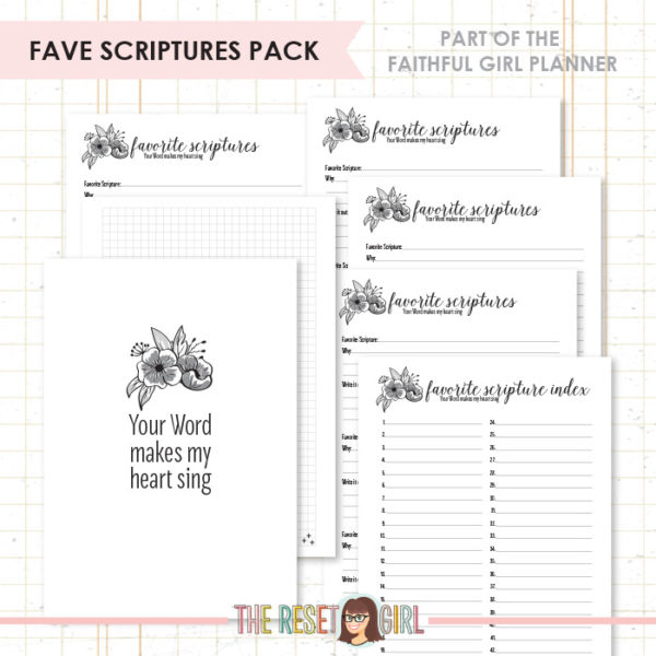 Inserts >> Faithful Girl Planner B&W: Fave Scriptures