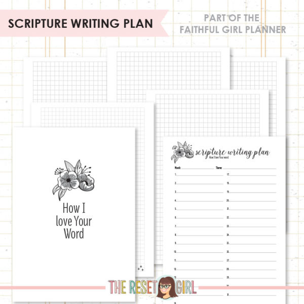 Inserts >> Faithful Girl Planner B&W: Scripture Writing Plan