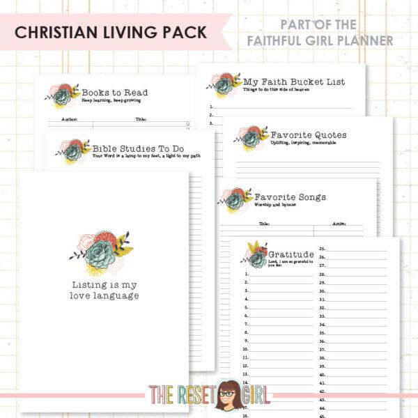 Inserts >> Faithful Girl Planner Color: Christian Living