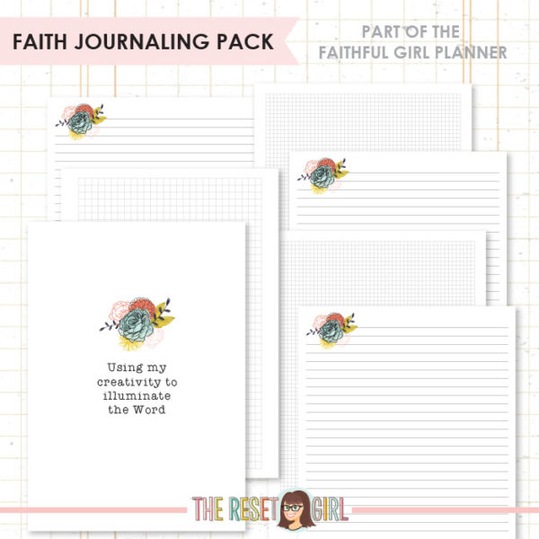 Inserts >> Faithful Girl Planner Color: Faith Journaling