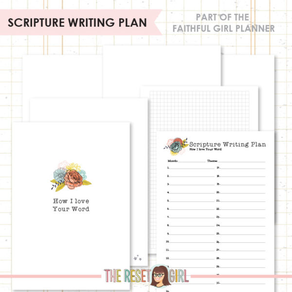 Inserts >> Faithful Girl Planner Color: Scripture Writing Plan