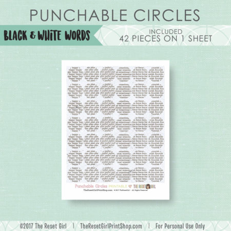 Paper Punch Buffet >> Circles: Black & White Words