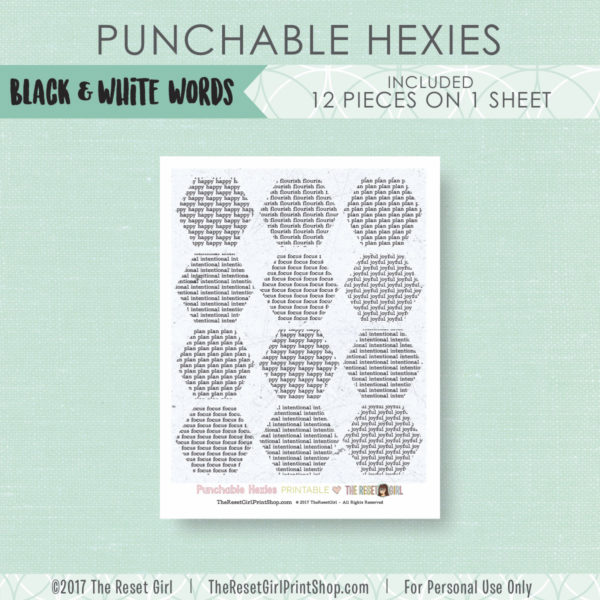 Paper Punch Buffet >> Hexies: Black & White Words