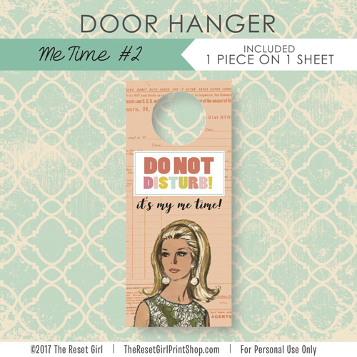 Extras >> Door Hanger: Me Time #2