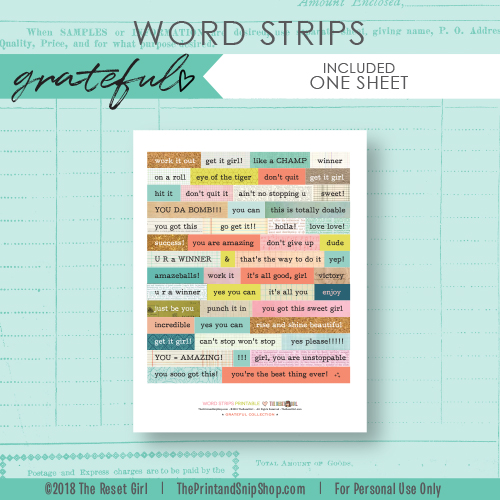 Word Strips >> Grateful Collection