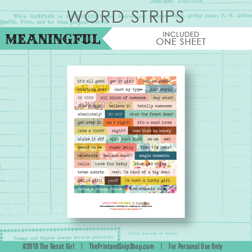 Word Strips >> Meaningful Collection