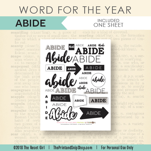 Word for the Year >> Abide