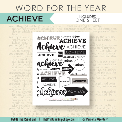 Word for the Year >> Achieve
