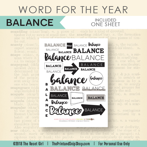 Word for the Year >> Balance