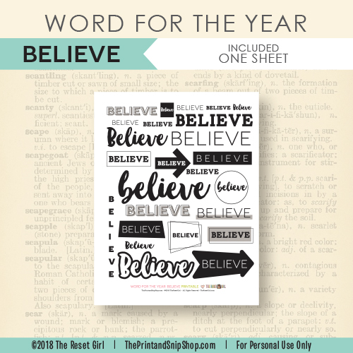 Word for the Year >> Believe