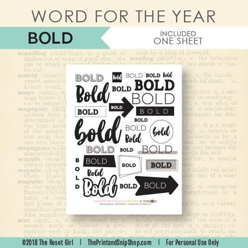 Word for the Year >> Bold