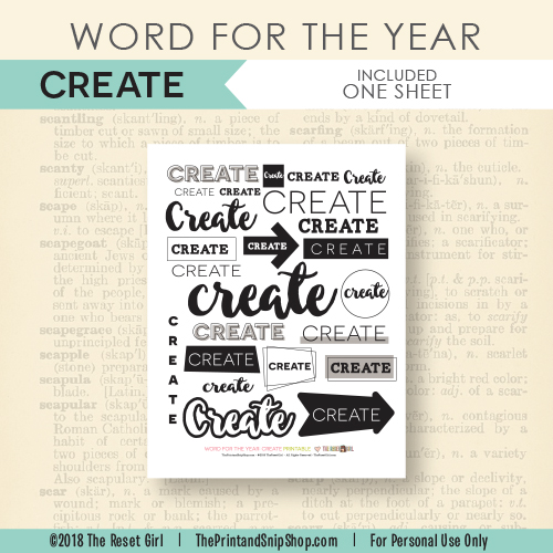 Word for the Year >> Create
