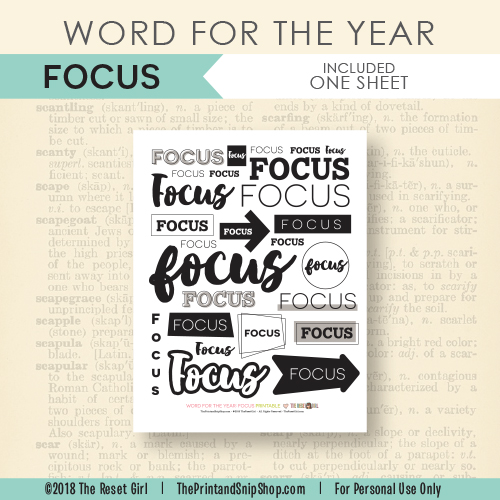 Word for the Year >> Focus