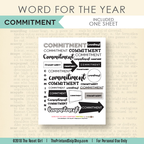 Word for the Year >> Commitment