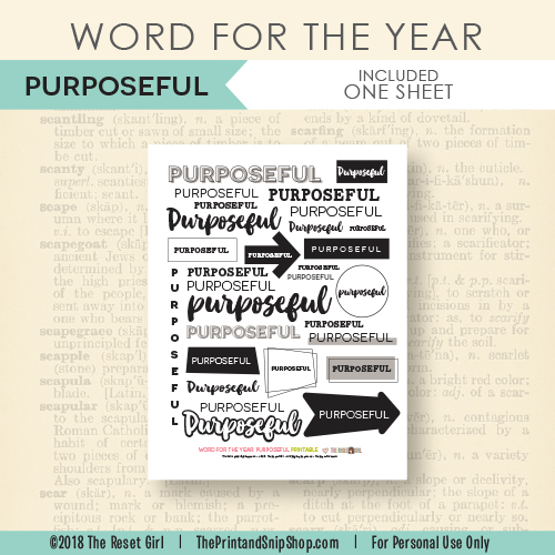 Word for the Year >> Purposeful