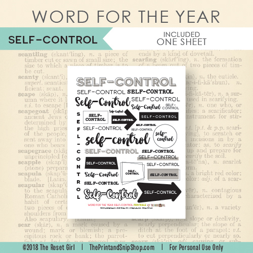 Word for the Year >> Self-Control