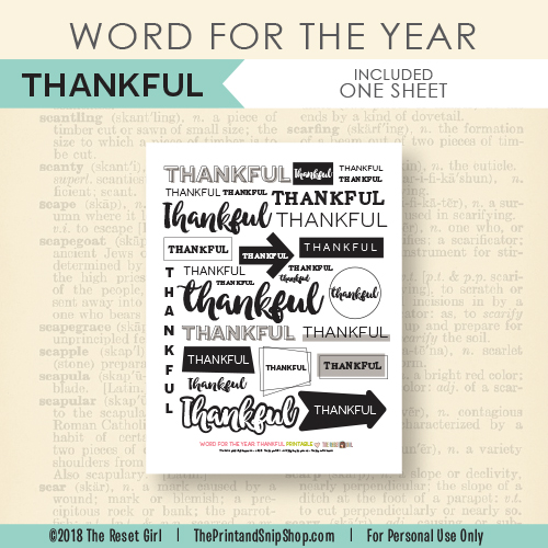 Word for the Year >> Thankful