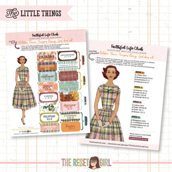 Prompts >> Faithful Life Challenge - The Little Things Edition - October 2018