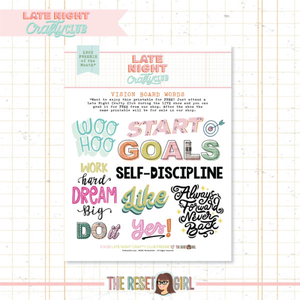 Vision Board Words - January 2020 LNCC Printable